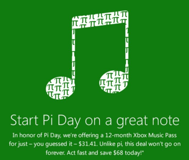 Xbox Music Pi Day Offer