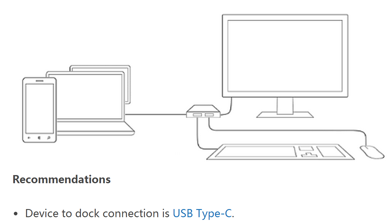 Microsoft describes docking stations for phones using USB Type-C 3