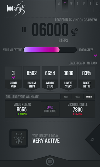 FootPATH - An exclusive Windows Phone App combines fitness and gaming 1