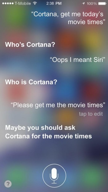 Apple Siri Jealous Microsoft Cortana