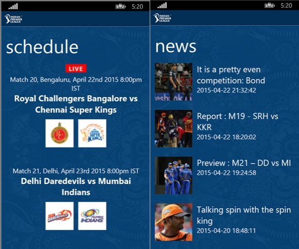 BCCI Windows Phone app