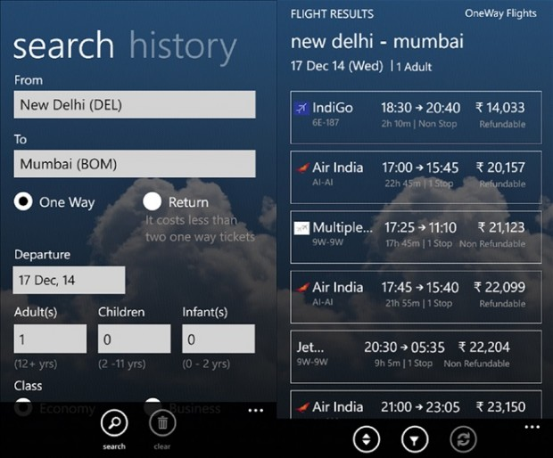 Makemytrip Windows Phone