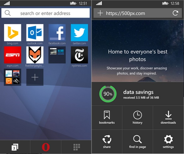 Opera Mini Beta Windows Phone