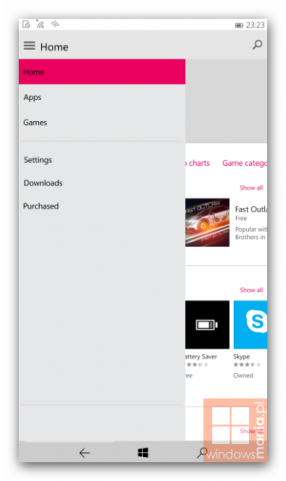 W10M - New Store layout with hamburger menu