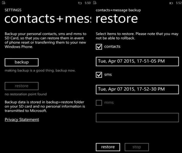 contacts messaging backup Windows Phone