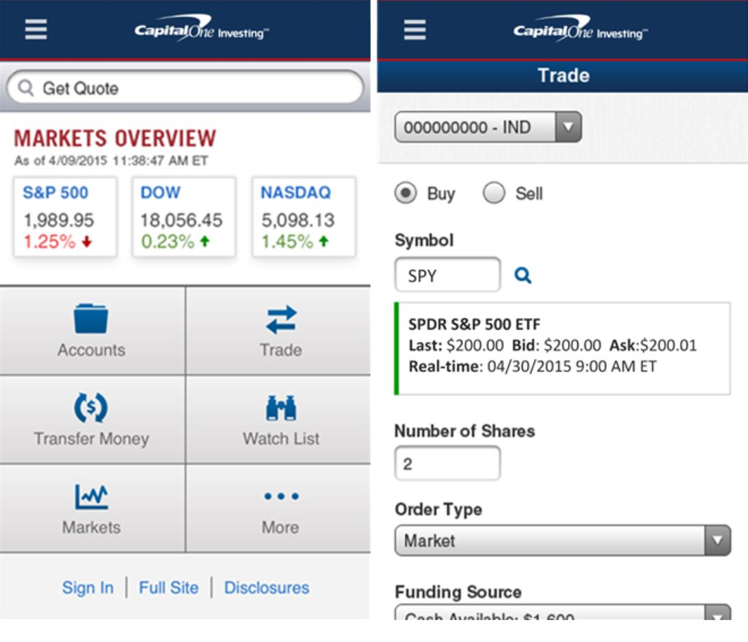 Buy And Sell Stocks Using Capital One Investing Mobile App For Windows Phone 8
