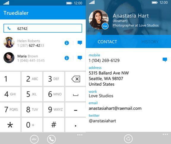 TrueDialer Windows Phone