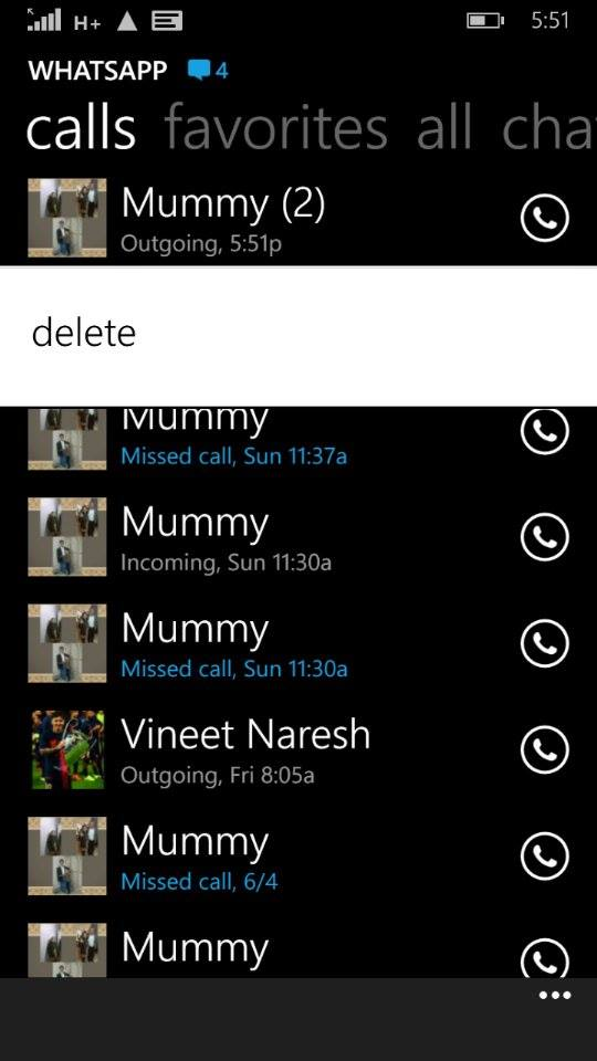 how to delete whatsapp missed calls