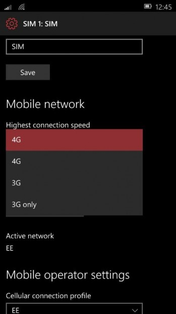Windows 10 Mobile 3G Only Mode