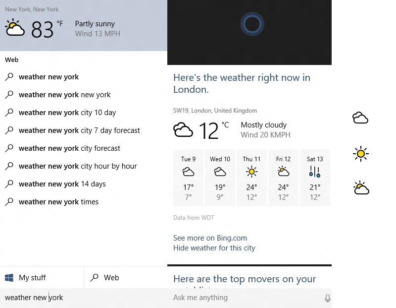 Cortana gets some colorful icons for Weather updates on Windows 10 12