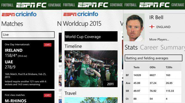 ESPNSCricinfo Windows Phone app
