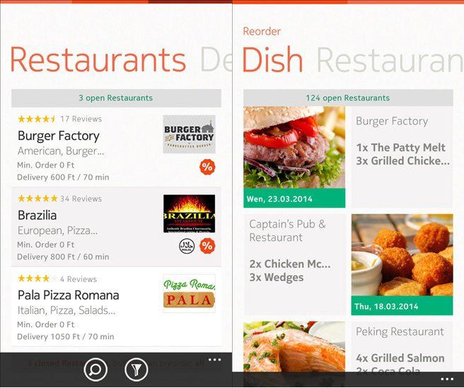 FoodPanda Windows Phone app