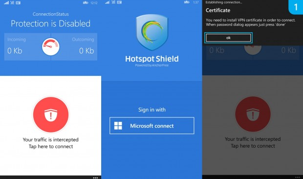 Hotspot Shield Windows Phone