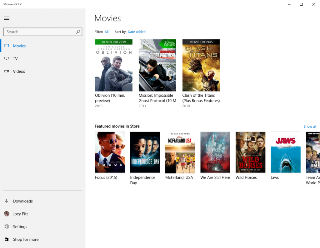 Movies and TV Windows 10