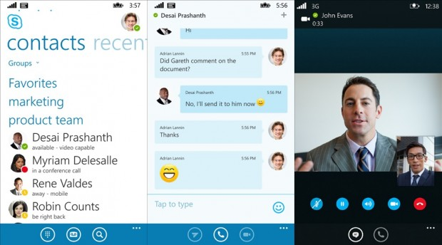 Skype For Business Windows Phone app