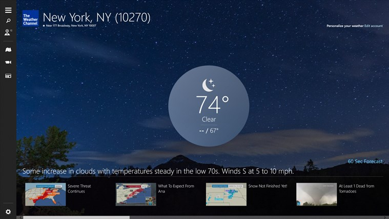 The Weather Channel Windows Store