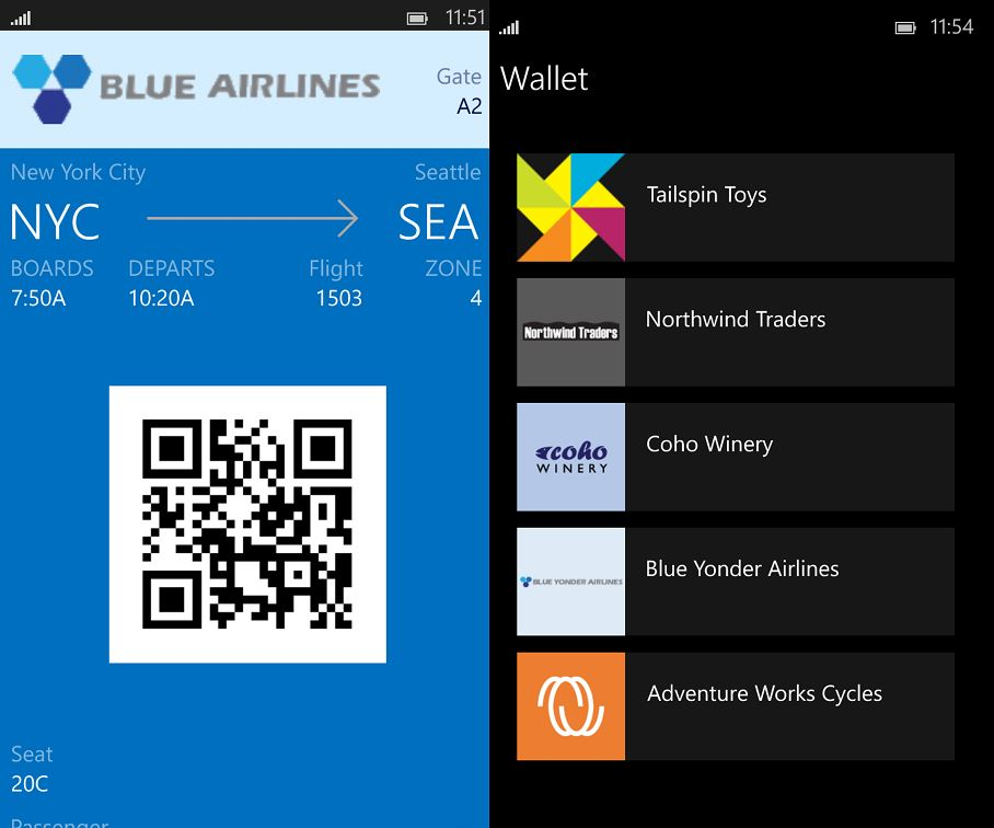 Wallet app Windows Store