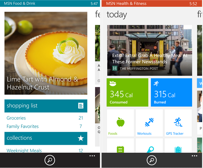 microsoft updates food and drink and health and fitness msn apps