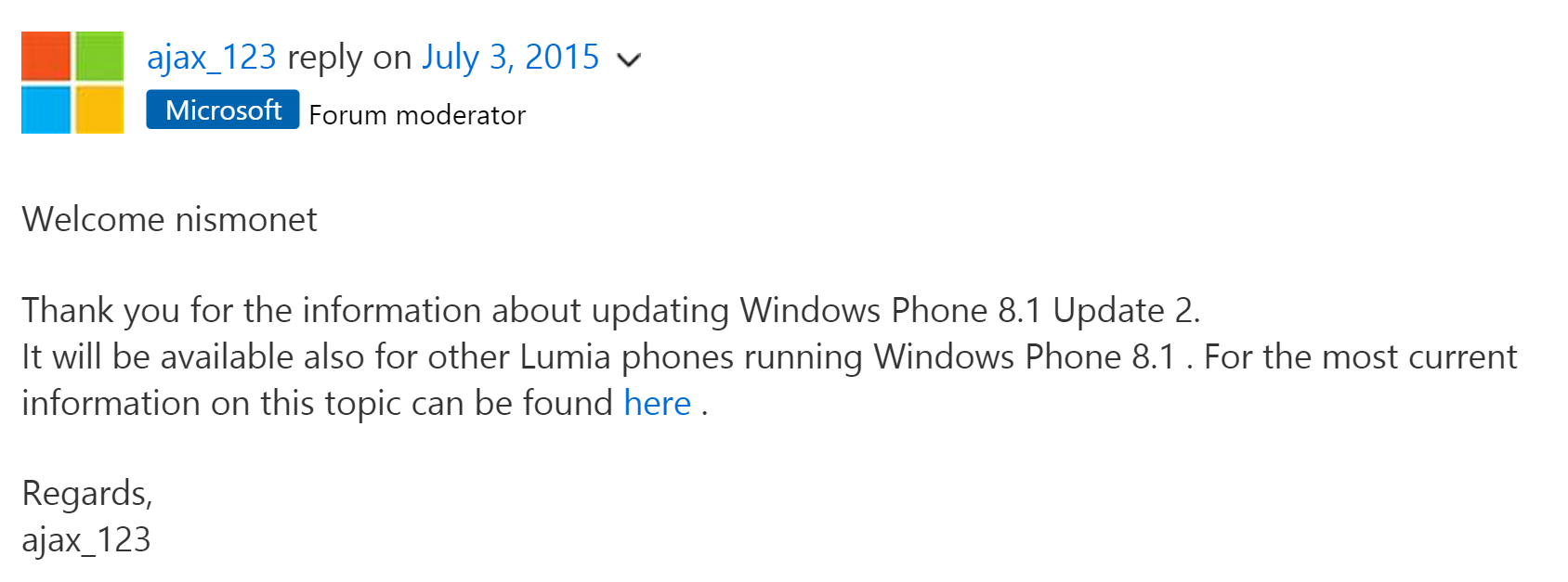 Microsoft support staff say Windows Phone 8.1 Update 2 coming to more Lumias 3