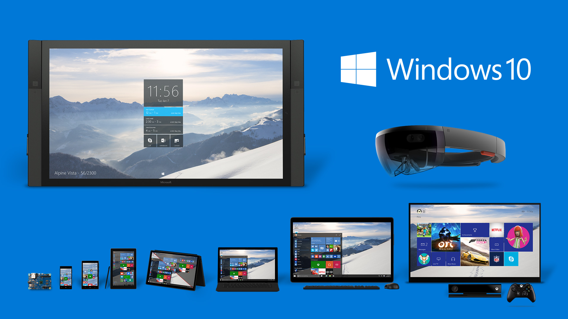 Windows 10 running on Desktop, Laptop, Surface, Phone, HoloLens, Surface Hub