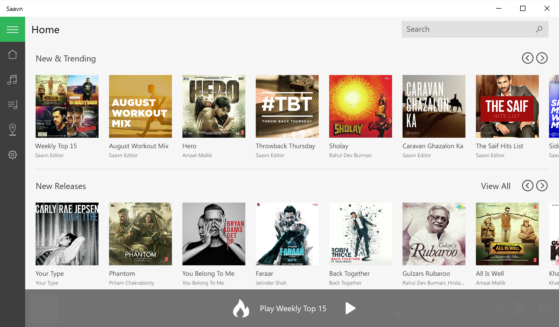 Saavn Windows App 3