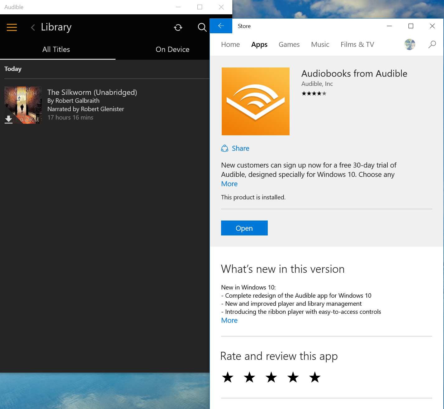 Audible Windows 10 2
