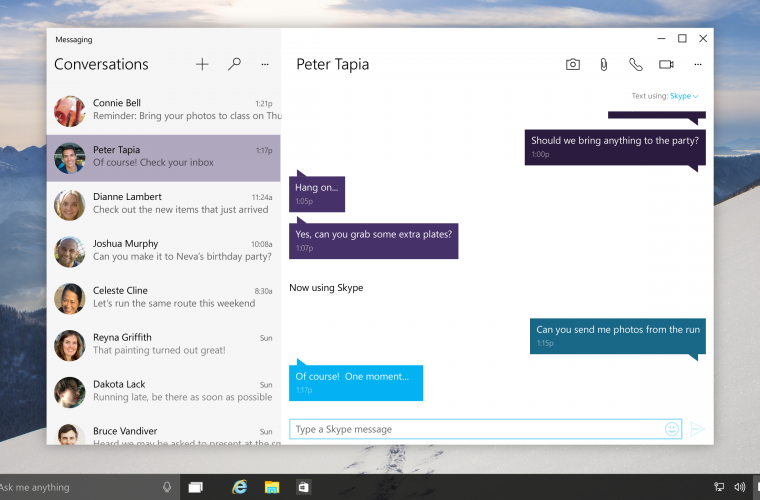 Windows 10 Mobile Redstone Build 14322 will soon let you send and receive text messages from your PC 5