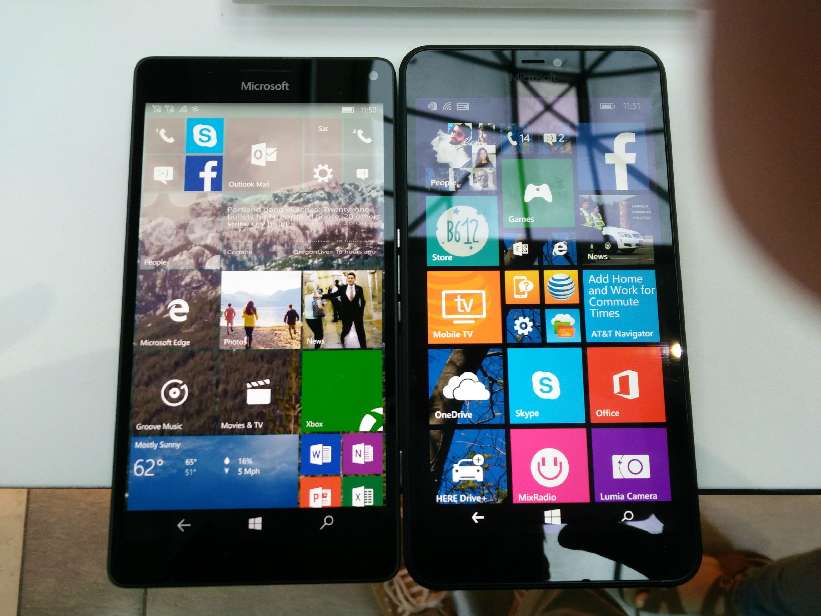 Lumia 640 XL vs 950 XL Front