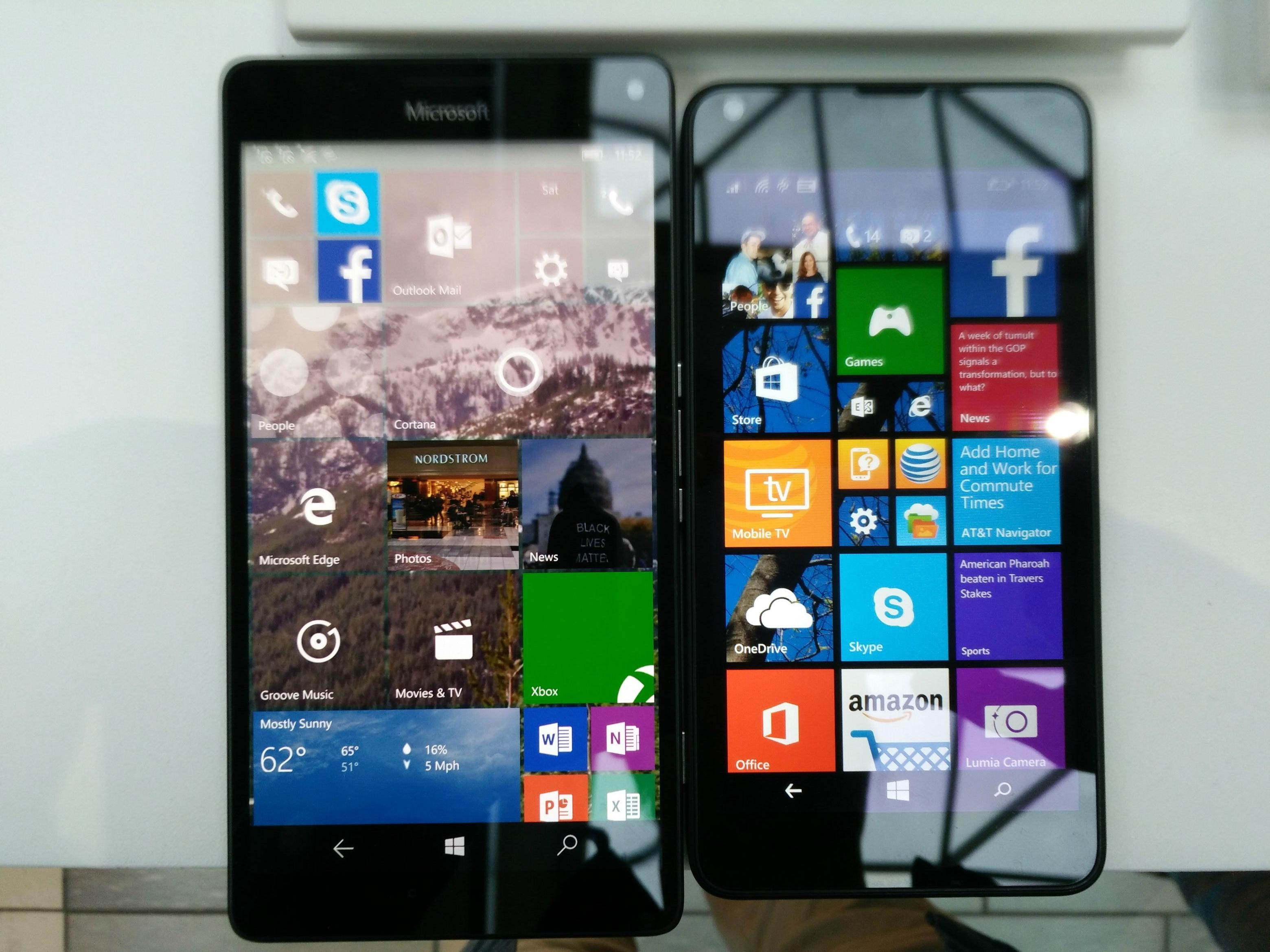 Lumia 640 vs 950 XL Front