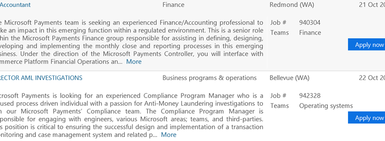 Microsoft actively hiring for Microsoft Payments service 18
