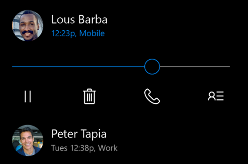 Windows 10 Mobile's new Visual Voice Mail user interface looks rather nice (screen shot) - MSPoweruser