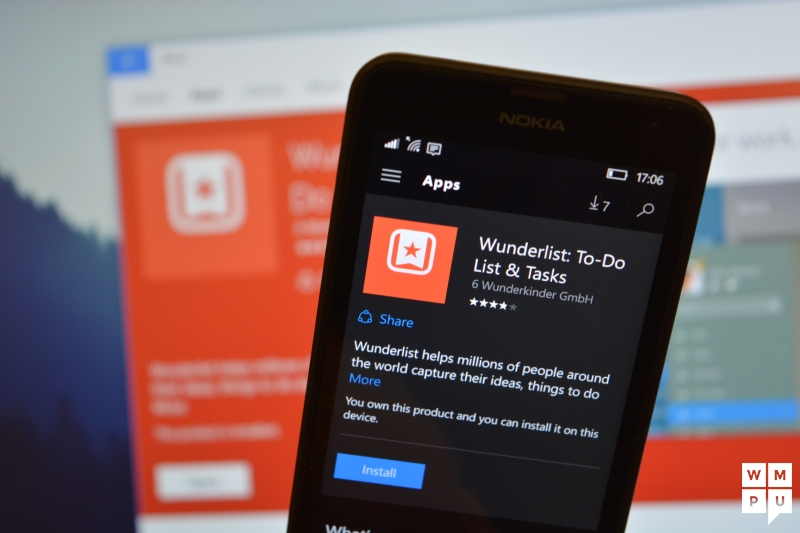 Windows 10 Mobile users can't download Wunderlist from the Windows