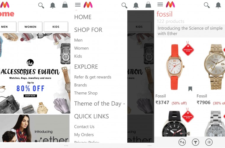 Myntra app updated to become universal Windows app 4