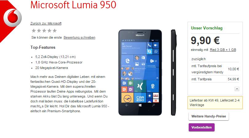 lumia 950 vodafone pre-order