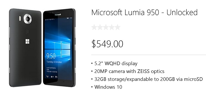 unlocked lumia 950