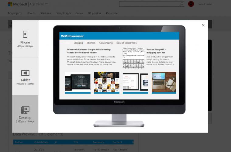 Microsoft adds new WordPress Data Source, new themes, and more to Windows App Studio 7
