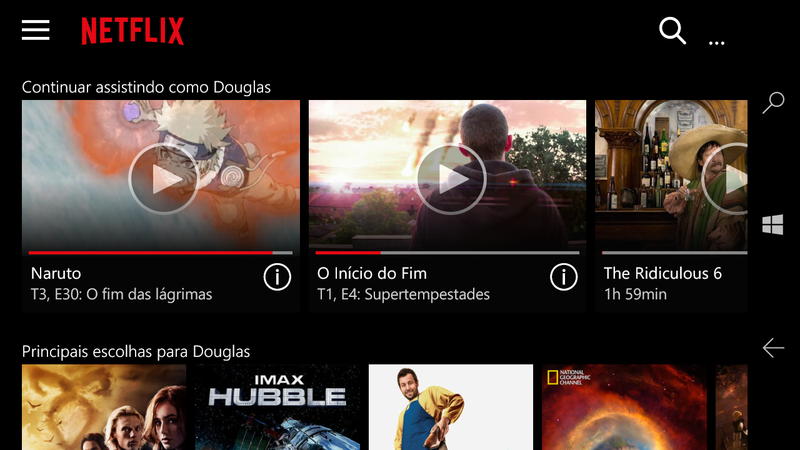 Netflix Universal Windows 10 Mobile