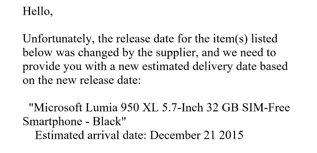 lumia 950 xl amazon delay