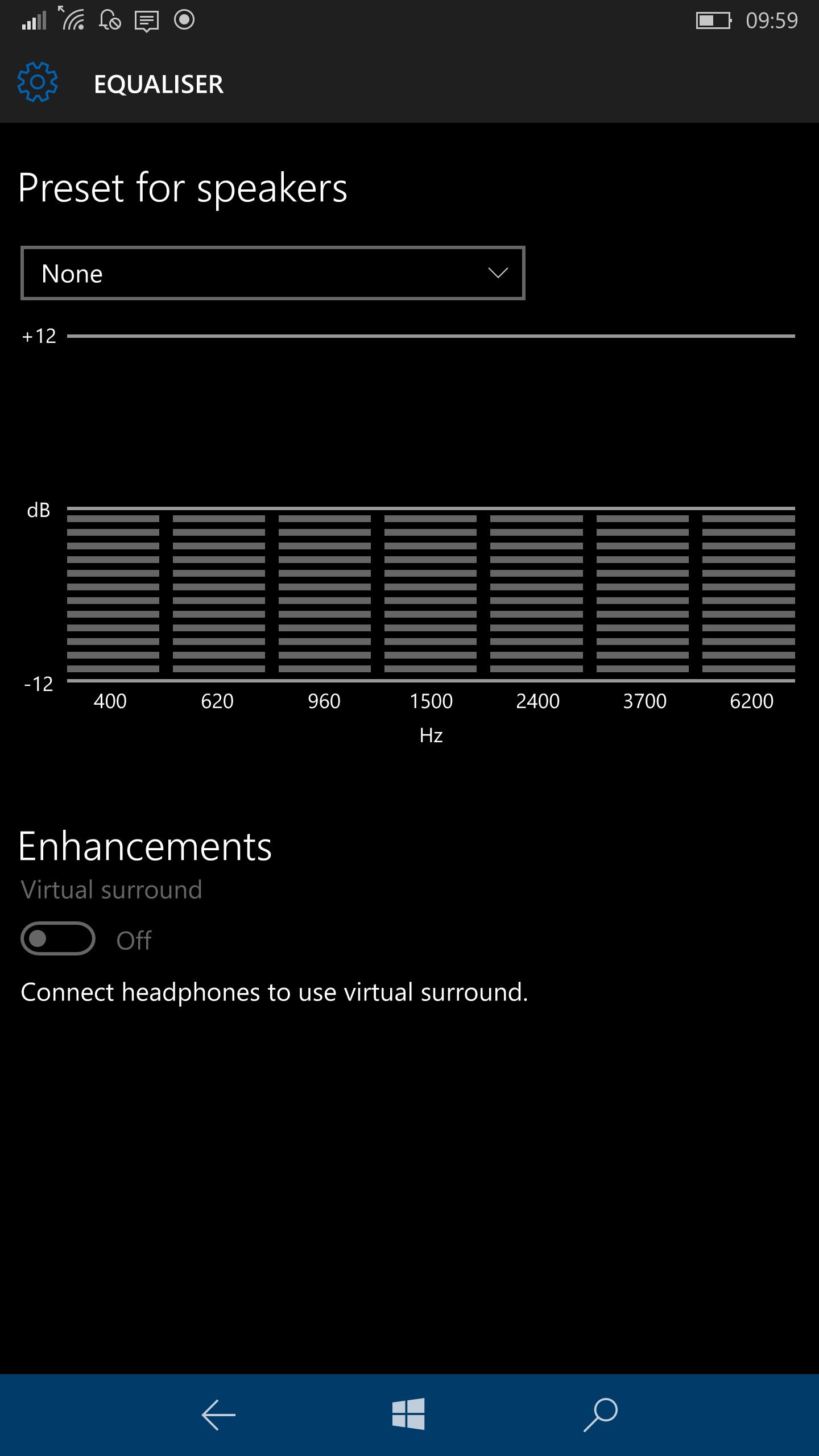 audio for windows 10 mobile gets updated introduces updated user interface for equalizer. Black Bedroom Furniture Sets. Home Design Ideas