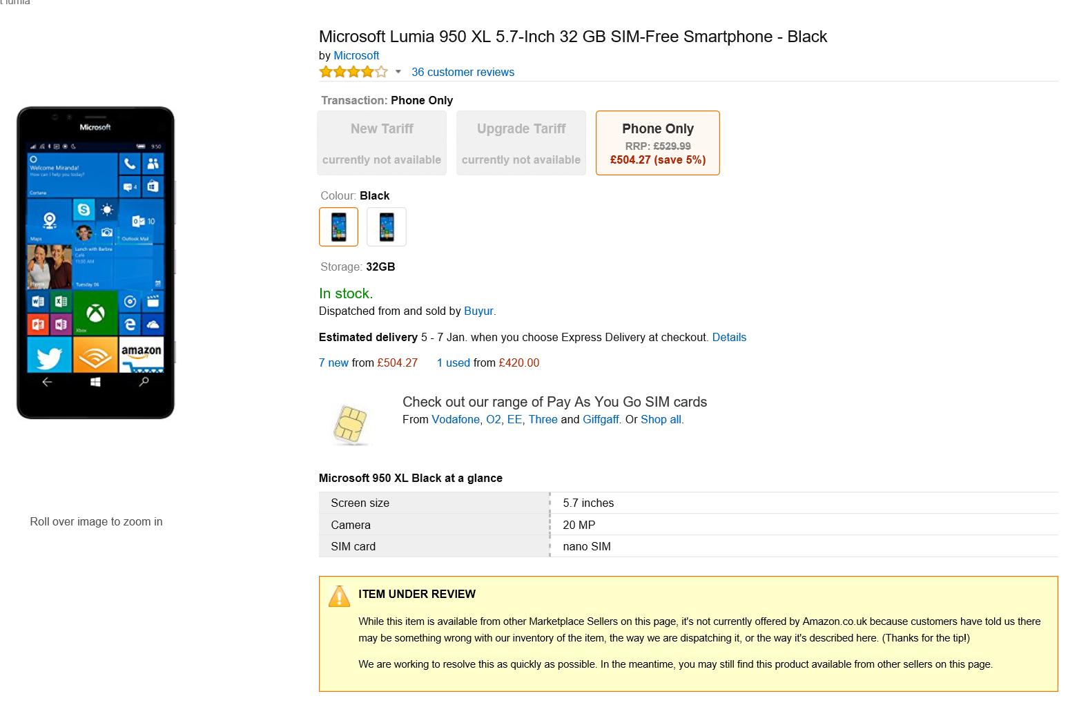 Amazon Lumia 950 XL