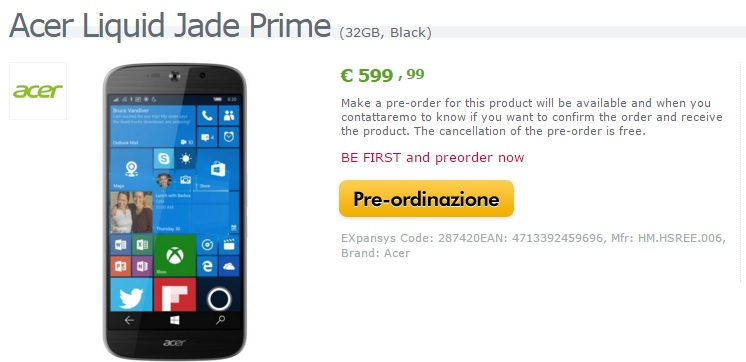 acer jade primo expansys
