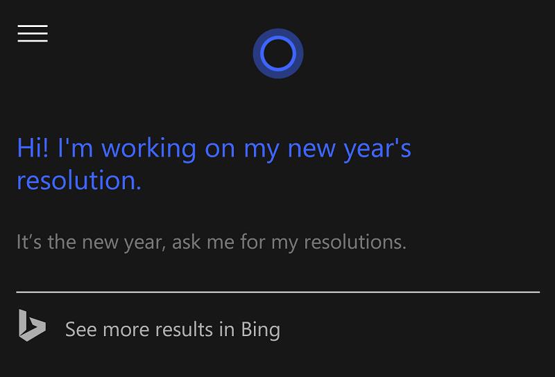 cortana new year