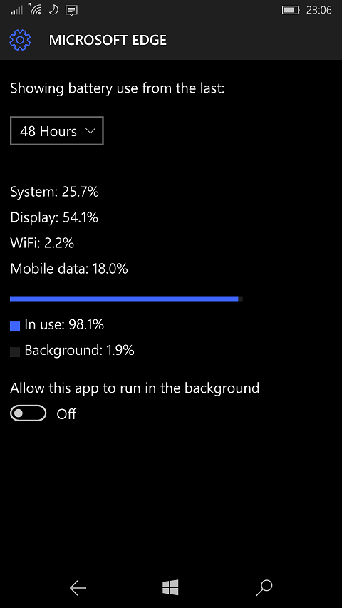 Edge is a battery drain