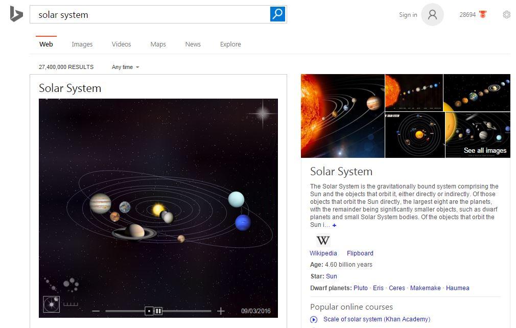 Bing Solar System