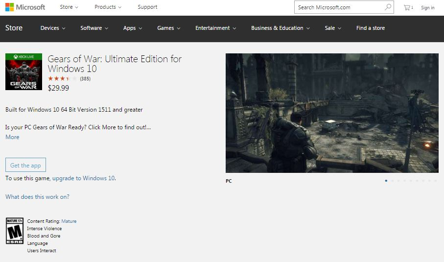 Gears of War Ultimate Edition Windows Store
