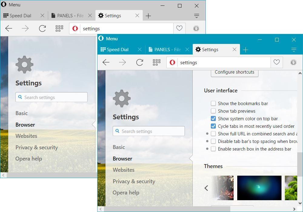 Opera 36 Windows 10 UI