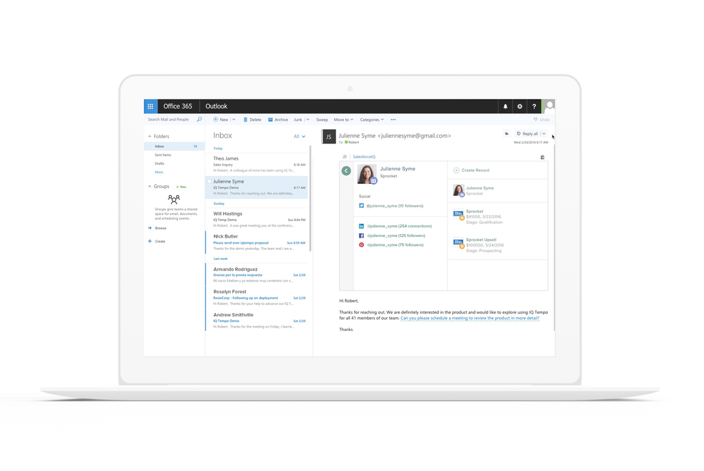 SalesforceIQ Outlook