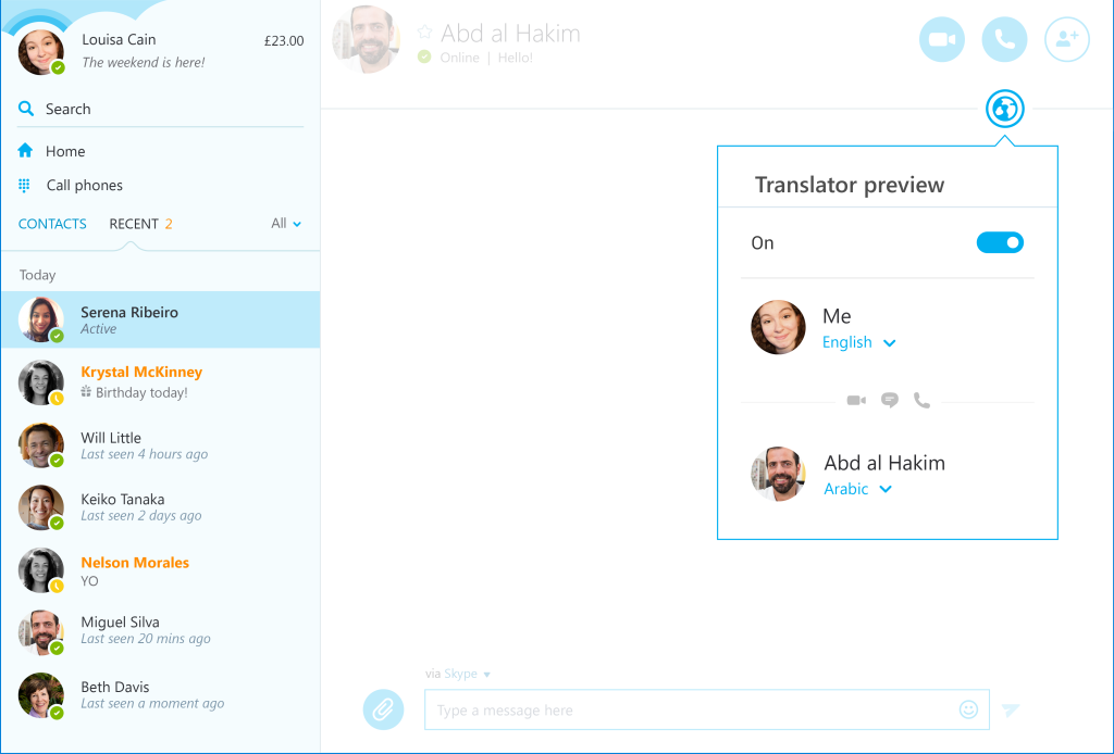 Skype Translator Arabic