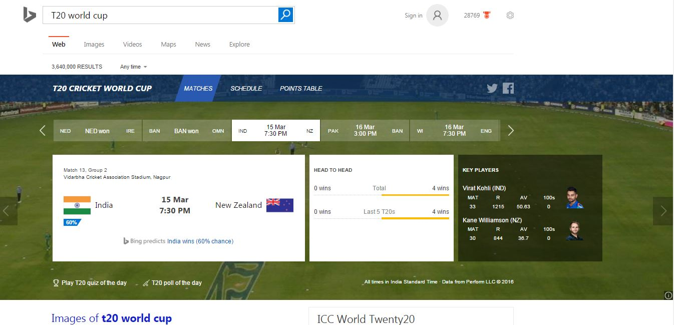 T20 Worldcup bing Cricket