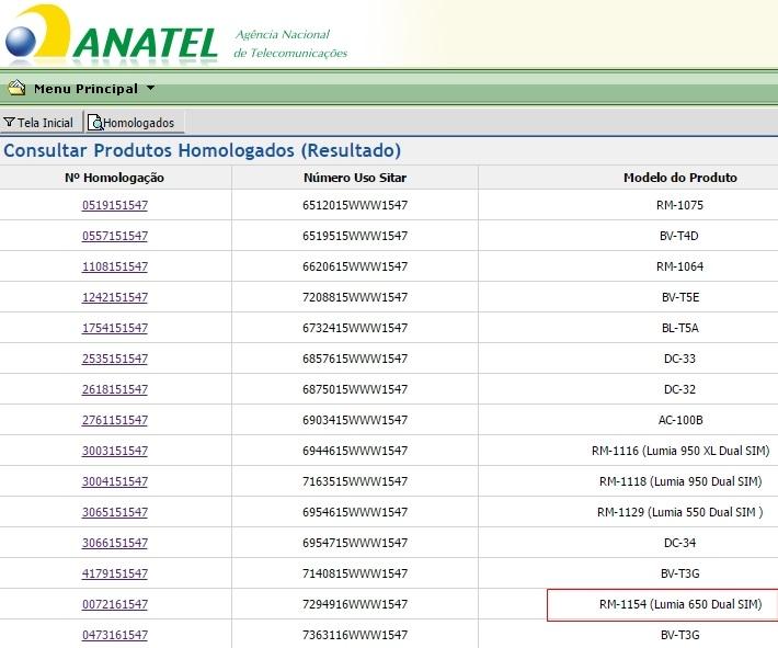 anatel lumia 650